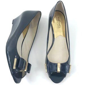 NWOT Michael Kors Navy Blue Peep Toe Wedges 9M